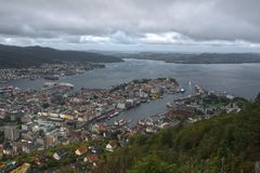 Wet day in Bergen, Norway. A wet morning in Bergen in Norway.  The entry point to the fjords Stock Photos
