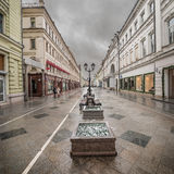Wet morning city street. Royalty Free Stock Image