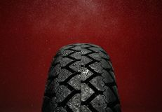 Wet motorcycle tire tread Stock Images