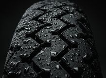 Wet motorcycle tire tread Royalty Free Stock Photos