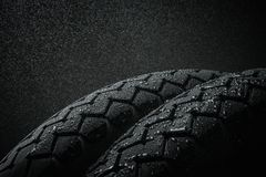 Wet motorcycle tire tread Stock Photography