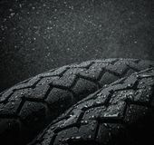 Wet motorcycle tire tread Stock Image
