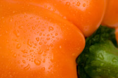 Wet Orange Bell Pepper Close U Royalty Free Stock Photo