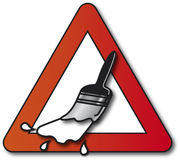 Wet Paint. Traffic sign warning people before they get dirty