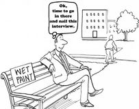 Wet Paint. Business cartoon about a job candidate sitting on wet paint Stock Images