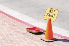 Wet paint sign Stock Photo