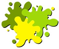 Wet Paint Splatter Web Logo 2. A simple 3-color wet paint or paintball splatter web page logo in green and yellow colors isolated on white Royalty Free Stock Photography