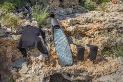 Diving equipment drying out stock image