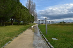 Wet pathway - Lisbon, Portugal Royalty Free Stock Photography