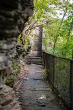 Wet paved portion of Indian Trail in the state park. Wet paved portion of Indian Trail in the Watkins Glen state park New York state. Rock face on one side stock image