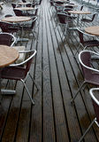 Wet Pavement Cafe. Rain in summer.... bad luck Royalty Free Stock Photo