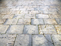 Wet pavement flagstones of the city of Burgos Stock Photo
