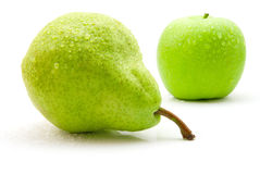 Wet pear and apple Royalty Free Stock Photography