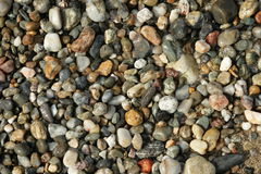 Wet pebbles. On beach in Pyrenees Orientales, Languedoc region of France Stock Photo