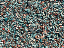 Wet pebbles on the beach. Texture smooth colored sea pebbles closeup Stock Image