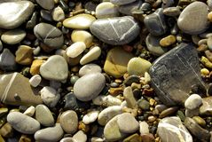 Wet pebbles upon  the shore Stock Photos