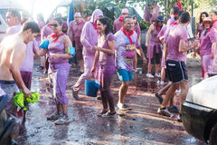Wet people at Haro Wine Festival Royalty Free Stock Photo