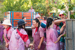 Wet people during Haro Wine Festival Royalty Free Stock Photo
