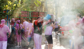 Wet people during Haro Wine Festival Stock Image
