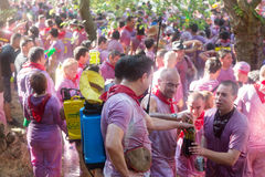 Wet people at Haro Wine Festival Royalty Free Stock Photography