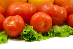 Wet peppers tomatoes and lettuce. Isolated on white royalty free stock photos