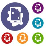 Wet phone icons set. In flat circle red, blue and green color for web Stock Image