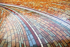 Wet pied brick pavement Royalty Free Stock Image