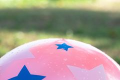 Wet pink ball and abtract background. Of green nature Stock Photography