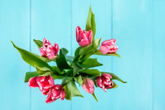 Wet Pink Tulip Flowers In Vase On Table Royalty Free Stock Images