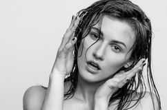 Wet portrait, black and white fashion model girl Royalty Free Stock Images
