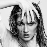 Wet portrait, black and white fashion model girl Stock Image