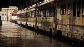 Wet rail station platform stock video footage