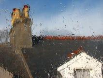 Wet rainy window. Rainy day Royalty Free Stock Photography