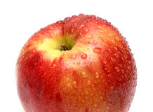 Wet red apple with water drops Stock Photography
