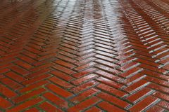 Wet red Brick Road Stock Image