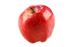 Wet red delicious apple. Isolated on white Royalty Free Stock Images