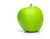 Wet Ripe Green Apple Royalty Free Stock Images