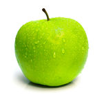 Wet Ripe Green Apple With Drops Stock Image