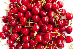 Wet ripe red cherries Royalty Free Stock Image