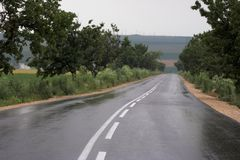 Wet road in countryside Stock Images