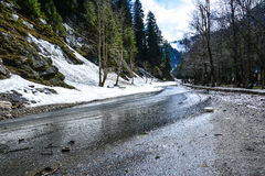 Wet Road in Naran Kaghan Valley, Pakistan. Naran & Kaghan are the most beautiful towns in Pakistan. Thousands of tourists travel here to see wonderful valleys stock images
