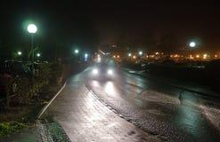 Wet road at night Royalty Free Stock Photos