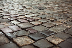 Wet road paved by sett Royalty Free Stock Images