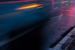 Wet road with reflections of light Royalty Free Stock Photography