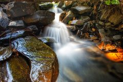 The Wet Rocks. Slow exposure mountain waterfall running through rocks and moss Stock Photography