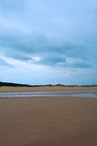 Wet sandy beach and forest in the distance, Northern Sea, Holkham beach, United Kingdom. The Norfolk Coast Area of Outstanding Natural Beauty is a protected Royalty Free Stock Image