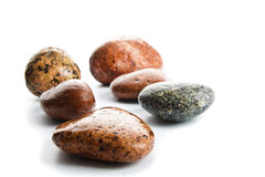 Wet sea stones isolated on white background Stock Photography
