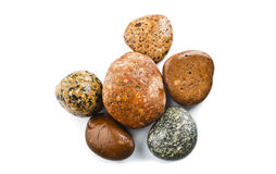 Wet sea stones isolated on white background Royalty Free Stock Photography
