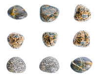 Wet sea stones isolated on white background. Set of sea stones. Stock Photography