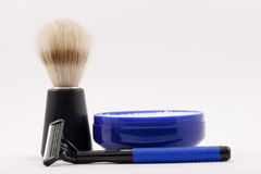 Wet Shave. Shaving Brush, Razor and Soap Royalty Free Stock Images